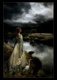 Dark clouds and lake--lovely
