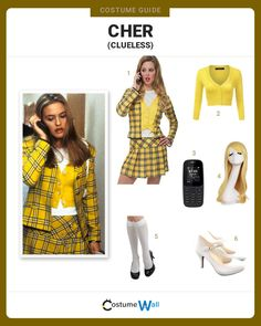 halloween costumes for blondes The best costume guide for dressing up like Cher Horowitz, the wealthy blonde played by Alicia Silverstone in the classic Clueless. Cher Clueless Costume, Cher Costume, Clueless Outfits, Clueless Style, Clueless Quotes, Costume Dress, Cute Group Halloween Costumes, Halloween Outfits, Cool Costumes