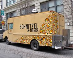 Manhattan's recent wave of Austrian restaurants paved the way for this roving vendor, which specializes in schnitzel—a traditional dish of chicken, pork, or cod pounded flat, lightly breaded, fried, and usually served with a lemon wedge and potato salad. The truck's bright, bouncy graphics reliably attract lines of midtown lunchers. schnitzelandthings.com; @schnitzeltruck