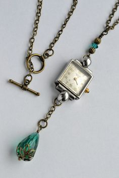 SteamPunk Art Deco Silver Watch Face Pendant Drop by ShesCrafty121, $27.00