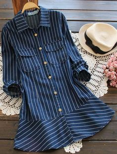 Striped shirt top to have with free shipping&easy return! This button down denim classic is detailed with front pockets&ruffle hem! Have this cute&chic stuff at Cupshe.com
