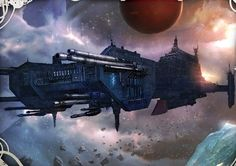 "alphamecha: "" A Storm Wardens Battle-Barge soars through the Jericho Reach """