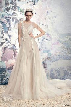 papilio 2016 bridal illusion flutter sleeves sheer jewel sweetheart neckline embellished bodice tulle skirt lace back chapel train (1632l rio colorado) mv