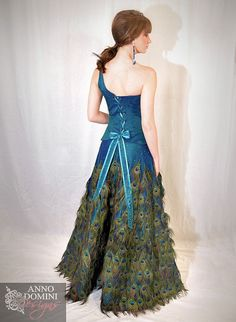 Peacock Feather Gown  Red Carpet Showpiece by AnnoDominiDesigns, $2999.00