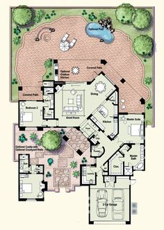 1000 images about custom home floor plans on pinterest for House plans with separate guest house