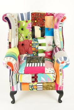 Patchwork Modern Vintage Chairs By Kelly Swallow Design Ideas . Funky Chairs, Vintage Chairs, Cool Chairs, Vintage Armchair, Vintage Fabrics, Funky Furniture, Painted Furniture, Colorful Furniture, White Furniture