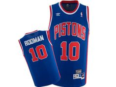 0a5abc3b879 Adidas NBA Detroit Pistons 10 Dennis Rodman Swingman Throwback Blue Jersey