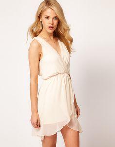 Tfnc Tfnc Chiffon Dress with Wrap Front in Beige (cream) - Lyst
