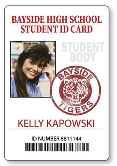 KELLY KAPOWSKI Bayside High Saved By The Bell Name Badge With PIN Fastener Halloween Costume Cosplay