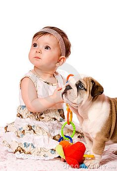 image photo : Baby and puppy