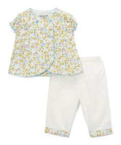 White Floral Wrap Top & Capri Pants - Infant