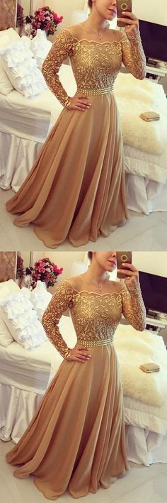 Golden A Line Dress Off Shoulder Long Sleeve Chiffon Party Prom Dresses For Women #prom #dresses #longpromdress #promdress #eveningdress #promdresses #partydresses #champagnepromdresses