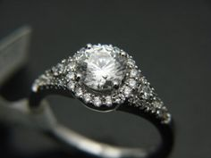 Gabriel and Co 14K White Gold Contemporary Halo Engagement Ring - We Sell Unique Rings on Etsy, $1,399.00