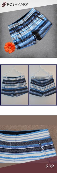 """J. Crew Shades of Blue Striped Shorts These shorts are sleek and sophisticated, and will take you anywhere! About:  * Colors - shades of blue, black, white * Side and back pockets * Front zip and 2 hook front closure * Stretchy and comfy! * 70% cotton / 30% polyester   MEASUREMENTS:  * Waist 30"""" * Hips 38"""" * Inseam - Just under 3""""  These shorts are in pristine condition - no flaws. They are by J. Crew and are size 4. You will love these!!! J. Crew Shorts"""
