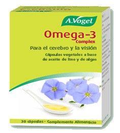 Omega-3 Complex cápsulas vegetales de aceite de semillas de lino y microalga Ulkenia sp de producción ecológica.  100% vegetal y puro, libre...