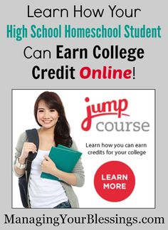 Online CLEP Prep For Homeschoolers With JumpCourse.com :: Come learn about JumpCourse.com where your high school homeschool student can earn college credit with online CLEP prep! :: ManagingYourBlessings.com