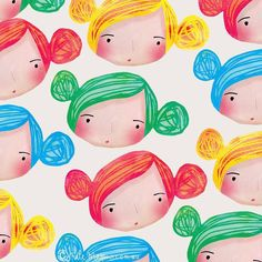 Coloured hair do's. If you coloured your hair in a bold bright colour what colour would it be? I've always fancied pink but could be too light so maybe blue. #katemasonillustration #colouredhair #girly #hairbuns #bunnybuns #surfacepattern #printpattern @lillarogers @reinesloan