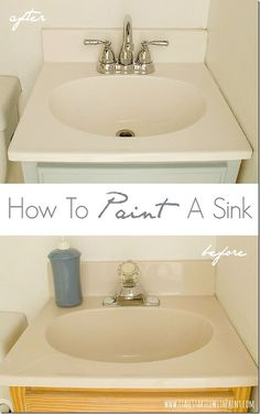 """How-To-Paint-A-Sink-Before-and-After.  Pinner used """"Tough as Tile"""" epoxy paint from Ace Hardware.  First she cleaned with CLR and sanded with steel wool. She repeated this 3 times.  Then she brushed on the epoxy paint, let it dry, sanded, then repainted. Very good link shows photos and has good instructions."""