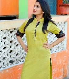 Buy parrot cotton plain kurti kurtas-and-kurti online