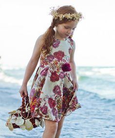 Look at this #zulilyfind! Cream & Pink Fall Floral Audrey Twirl Dress - Toddler & Girls #zulilyfinds