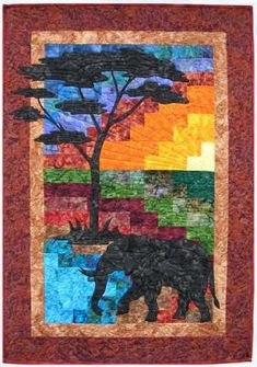 Reflections of the Serengeti II Pattern (adv beg, wall) Elephant Quilts Pattern, Tree Quilt Pattern, Quilt Block Patterns, Quilt Blocks, Landscape Art Quilts, Landscapes, African Tree, Crumb Quilt, African Quilts