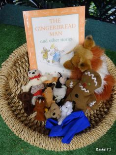 "The Gingerbread Man story basket from Rachel ("",) Gingerbread Man Story, Gingerbread Man Activities, Story Sack, Early Years Classroom, Traditional Tales, Book Baskets, Three Little Pigs, Literacy Activities, Literacy Bags"