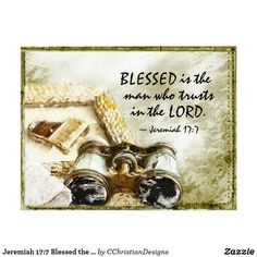 Shop Fathers Day Jeremiah Blessed is the Man Bible Postcard created by CChristianDesigns.