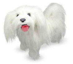 This Maltese is one happy ball of fuzzy whiteness.  With excellent quality construction and attention to lifelike details, it features the bright eyes, curled tail and unending cuteness distinctive to its breed.