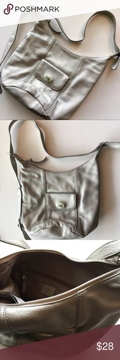 SALE! J. Jill Leather Bag Leather shoulder bag, oyster color, asymmetric straps, loose on one side so can be worn as a sling. Round base. Good condition. Approx 11in width 9in height 8in diameter depth. J. Jill Bags Shoulder Bags