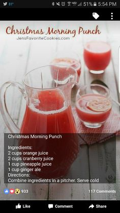 Morning Punch Christmas Morning Punch from - you'll love this quick and easy fruity punch for Christmas morning or holiday parties!Christmas Morning Punch from - you'll love this quick and easy fruity punch for Christmas morning or holiday parties! Holiday Punch, Holiday Drinks, Party Drinks, Holiday Recipes, Holiday Parties, Christmas Recipes, Christmas Cocktails, Christmas Drinks Alcohol, Christmas Alcoholic Punch Recipe