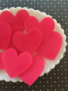 Cabochons - 45mm Rose Pink Heart Cabochons  -  Laser Cut Glitter Heart Cabochon