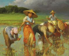 """Fernando Amorsolo y Cueto, Filipino painter, was an important influence on contemporary Filipino art and artists, even beyond the so-called """"Amorsolo school"""". Subjects: Philippine Genre, historical and society Portraits. Arte Filipino, Filipino House, Manila, Philippine Art, Philippine Mythology, L5r, Abstract Painters, Painting Gallery, New Artists"""
