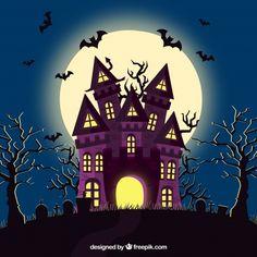 Halloween house with bats and cemetery Vector Halloween Cartoons, Chat Halloween, Moldes Halloween, Halloween Borders, Halloween Poster, Halloween Banner, Halloween Signs, Spooky Halloween, Holidays Halloween