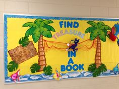 maybe add photos of books that relate to pirates, etc. Book covers in a chest Reading Bulletin Boards, Bulletin Board Display, Classroom Bulletin Boards, Classroom Themes, Disney Classroom, Classroom Rules, Future Classroom, Library Boards, Library Ideas