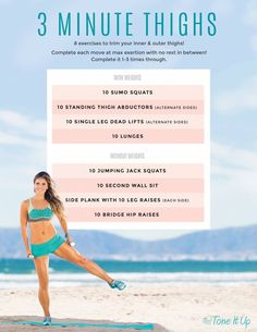 It Up: The Thighs Workout It's time to tone those thighs with this 3 minute workout from Tone It Up!It's time to tone those thighs with this 3 minute workout from Tone It Up! Fit Girl Motivation, Fitness Motivation, Yoga, Fitness Tips, Health Fitness, Thigh Exercises, Thigh Workouts, Workout Exercises, Body Workouts