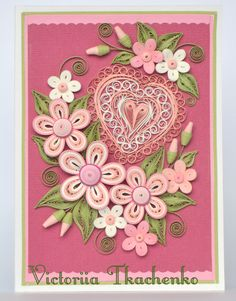 Elegant Valentine Quilling Card Anniversary by QuillyVicky Quilling Flower Designs, Quilling Images, Paper Quilling Cards, Paper Quilling Tutorial, Paper Quilling Flowers, Paper Quilling Patterns, Quilling Craft, Quilling Jewelry, Quilled Creations