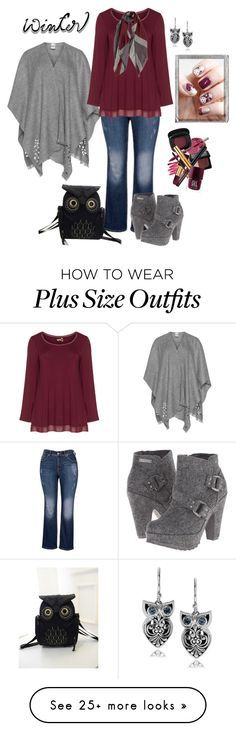 """""""Plus Size - The Owls Have It"""" by elise1114 on Polyvore featuring moda, Fraas, aprico, Blowfish, Journee Collection, Polaroid e plus size clothing"""
