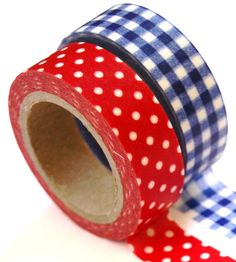 American country style Red, White, & Blue Washi Tape. Use it make a bunting banner cake topper, or to wrap around dixie cups, etc... Perfect for a Memorial Day or 4th of July party or picnic.