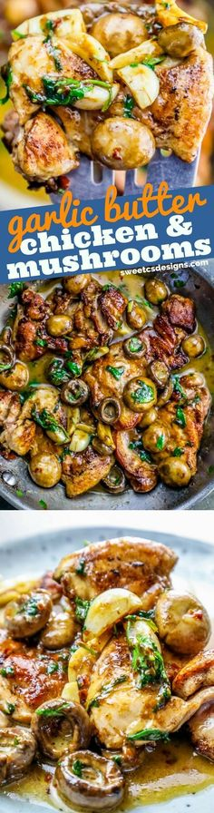 One Pot Garlic Butter Chicken Thighs and Mushrooms Recipe (mushroom recipes) Garlic Butter Chicken, Baked Chicken Wings, Chicken Thighs, Mushroom Side Dishes, Mushroom Recipes, Oven Roasted Asparagus, Asparagus Recipe, Easy Baked Pork Chops, Yum Yum Chicken
