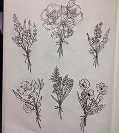 Wild flowers 🌿💐 #flowers #wildflowers #bouquet #art #illustration #ink #drawing #tattoo #tattooflash - natacha_adp