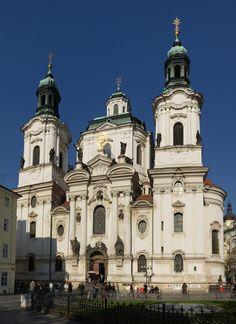 BAROQUE ARCHITECTURE; Czech Republic- Church of St. Nicolas, Prague, 1703-21, by Christoph Dientzenhofer (1655-1722) with his father Ignaz Dientzenhofer.