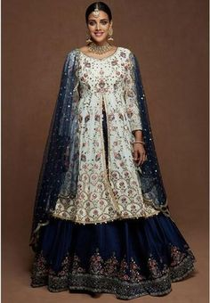 Buy White Wedding Long Lehenga Kameez Suit In Georgette ROY286800 Regular price £105.00 GBP Silk Lehenga, Georgette Fabric, Indian Outfits, Pakistani Outfits, Silk Top, How To Look Pretty, Salwar Kameez, Beautiful Dresses, Suits