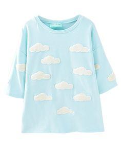 Preppy Clouds Splicing Round Neckline T-shirt