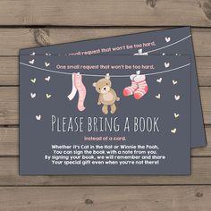 Baby shower Bring a book card Teddy bear Girl by Anietillustration