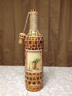 Vineyard style mosaic bottle