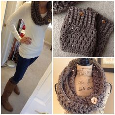 Crochet Cowl and Boot Cuffs Set Scarf $47