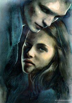 Twilight By: =AuroraInk (deviant art) Twilight Wolf Pack, Twilight New Moon, Twilight Movie, Twilight Saga, Celebrity Drawings, Celebrity Portraits, Bella Swan, Teen Wolf, Vampire Pictures