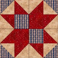Classic Country 8 Point @ Country Junk'tion: This quilt block is made up of : (2) Dark squares (2) Medium Squares (8) Light/Dark half-square triangles (4) Light/Medium half-square triangles...