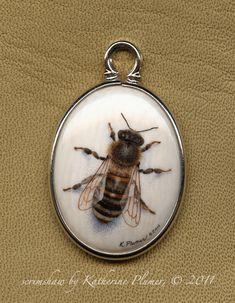 Scrimshaw | My life, under the microscope...: scrimshaw pendant: Honey Bee #2
