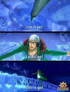 This crossover is probably the weirdest ever, and it fits so well. One Piece Kuzan x Frozen